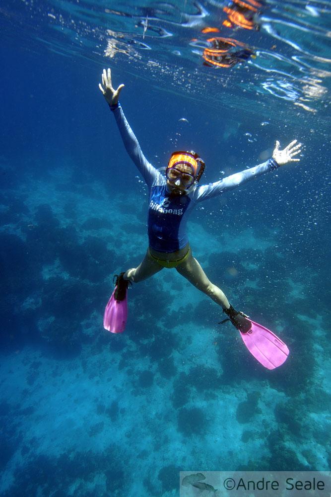 Snorkeler fazendo estrela - Apo Island