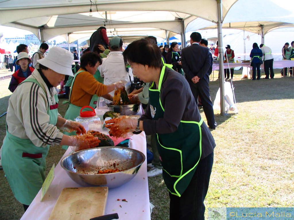 Pimenta vermelha na preparação do kimchi - Festival de Frutos do Mar - Ganggyeong - Coréia do Sul