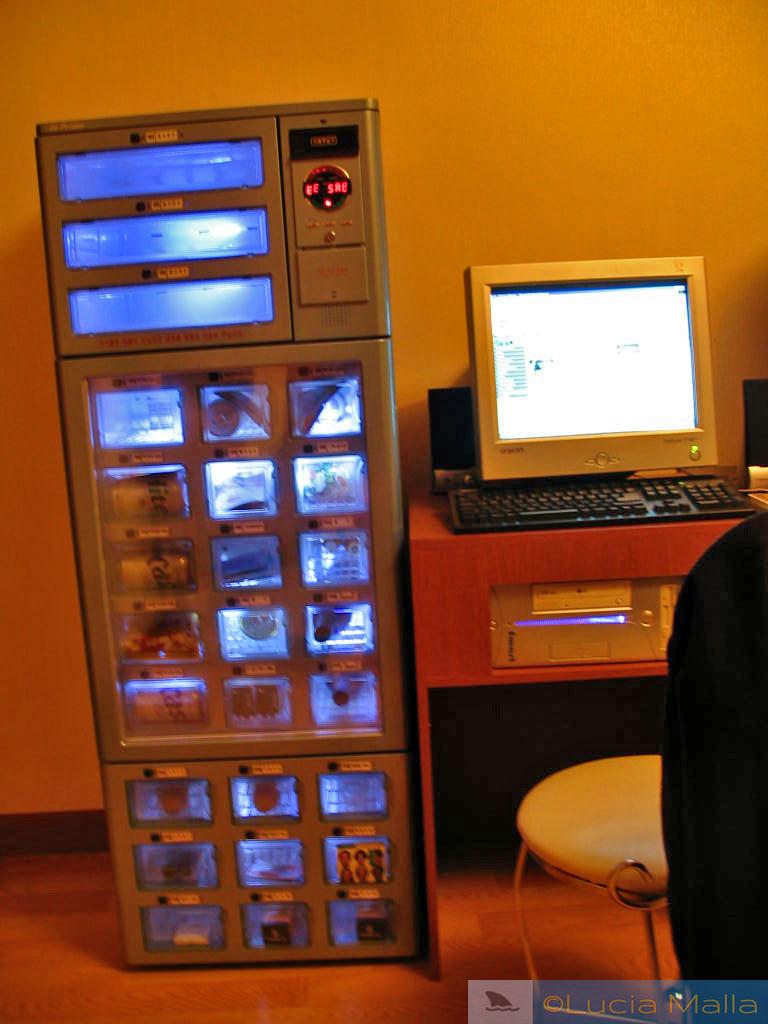 Vending machine dentro do quarto do hotel