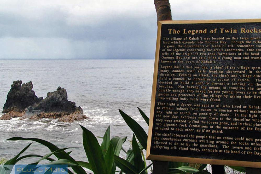 Lenda das Pedras Gêmeas - baía de Onomea - Hilo - Big Island
