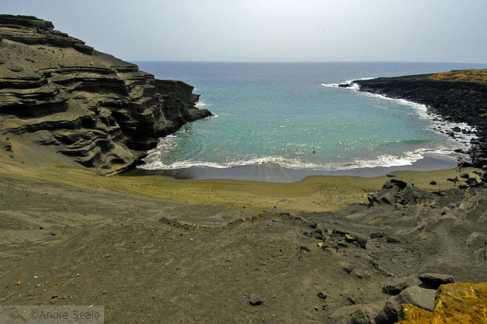 De Kona a Hilo - Green Sand Beach
