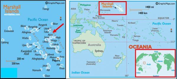 mapa atol de Ailuk - Ilhas Marshall