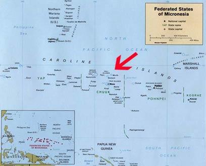 Mapa da Micronésia - Chuuk