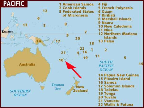 Mapa do sul do Pacífico - Nova Caledônia