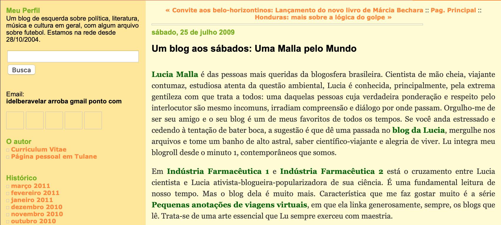Um blog aos sábados - Lucia Malla - Sem vergonha de ser feliz