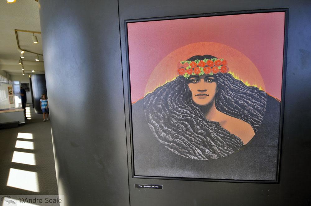 Pintura no Jaggar Museum - Parque Nacional dos Vulcões do Havaí - visita ao Kilauea