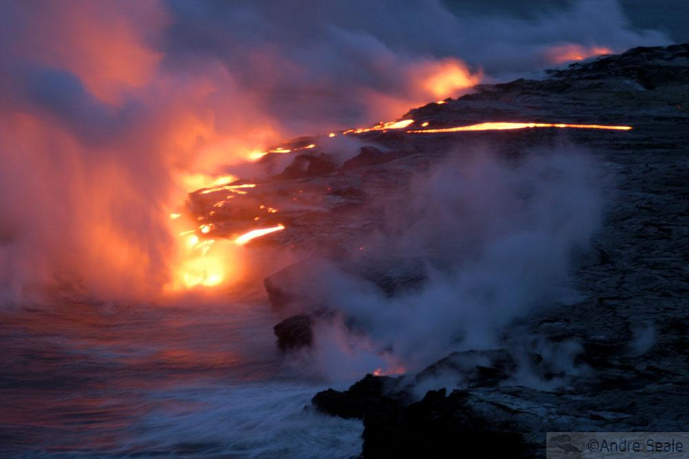 Roteiro 4 dias na Big Island - lava no mar