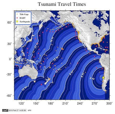 Mapa - tsunami no Havaí - terremoto do Chile