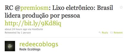 Twitter sobre lixo eletrônico