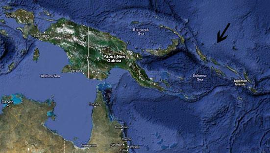Google Earth - onde fica o atol de Takuu