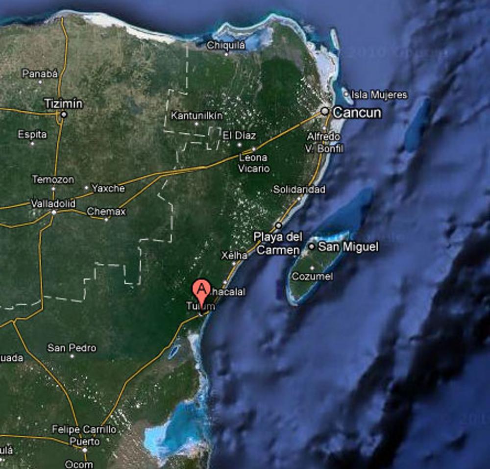 Mapa de Tulum e da Península de Yucatan
