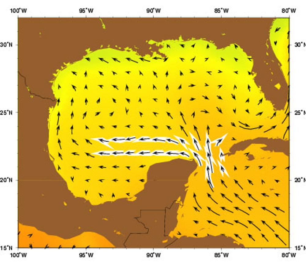 Mapa de correntes no mar do Caribe - México