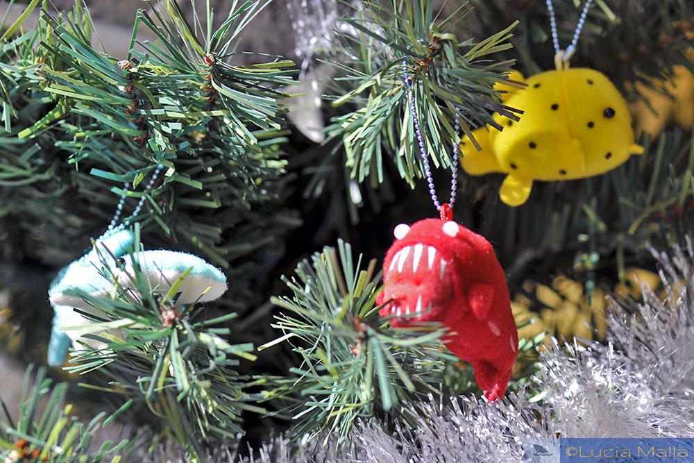 árvore de Natal marinha - enfeites de peixes