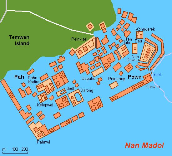 Mapa do sítio arqueológico de Nan Madol - Micronésia