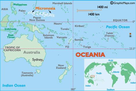 Mapa do sul do Pacífico - De férias