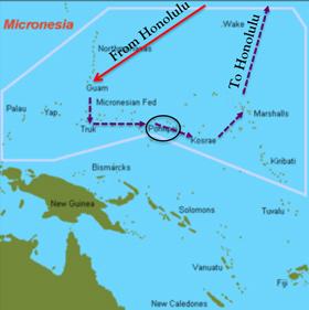 Mapa da viagem a Pohnpei passando por Guam