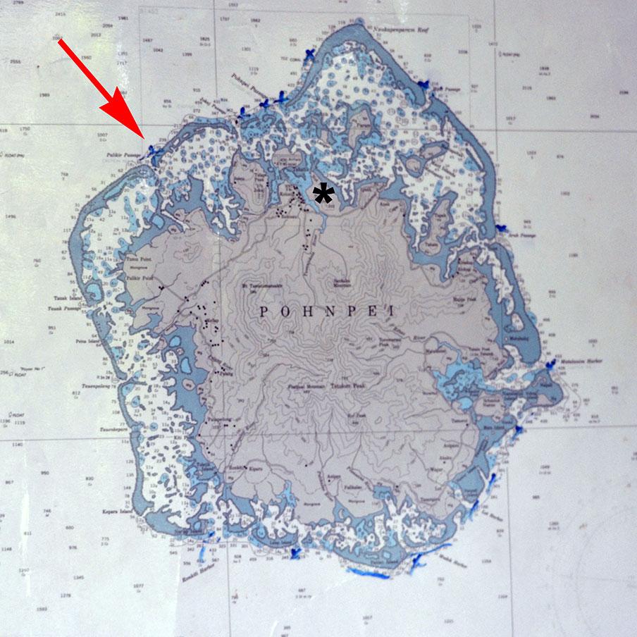 Mapa de Pohnpei indicando o Palikir Pass - Estados Federados da Micronésia
