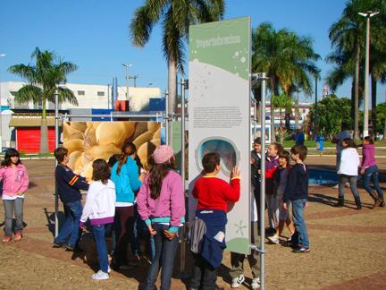 Crianças vendo imagens na praça