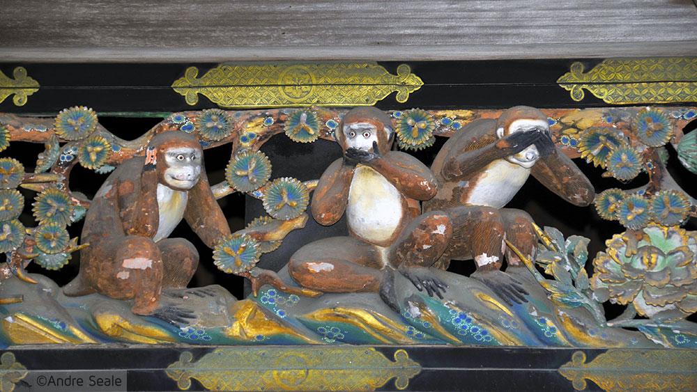 Três macacos de madeira - Templo de Toshogu - Japão