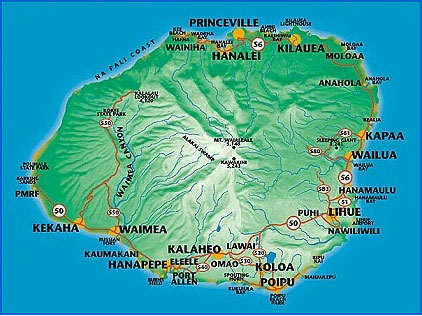 Mapa do Kauai