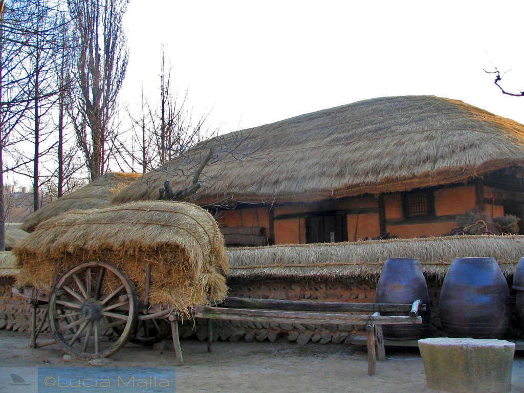 Transporte de feno - passeio pelo Korean Folk Village - vida cotidiana tradicional