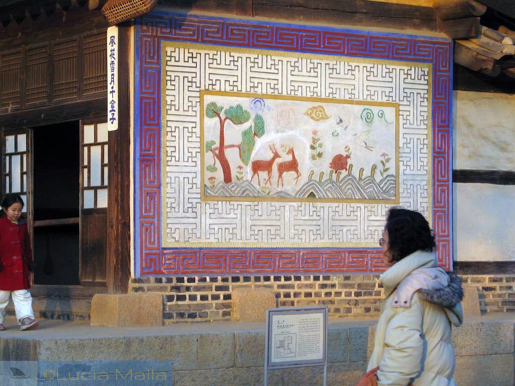 Pintura tradicional coreana - Passeio pelo Korean Folk Village - Suwon