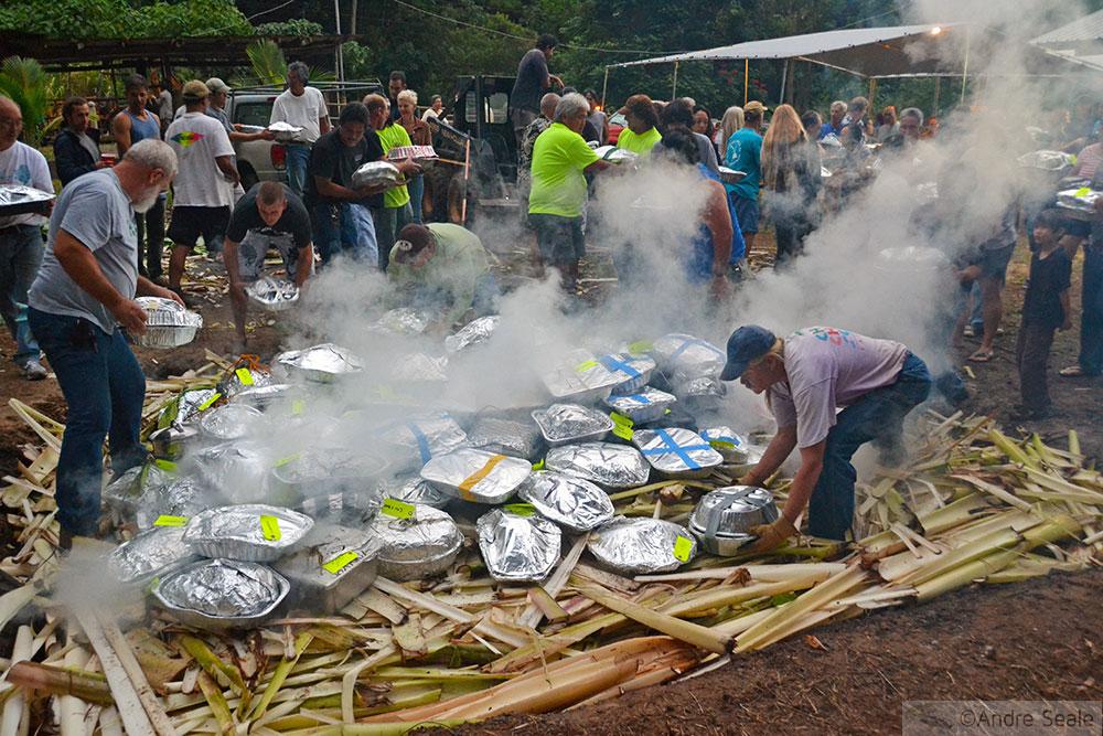 Perus de Ação de Graças sendo colocado no imu - luau no Havaí