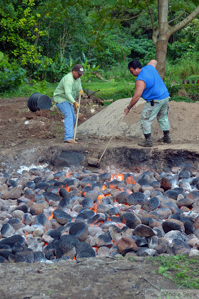 Cavando o buraco do imu - luau no Havaí