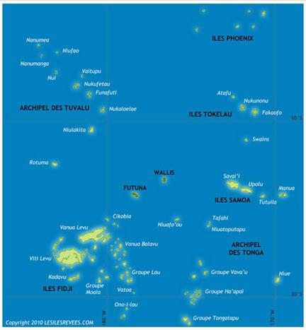 Mapa do sul do Pacífico