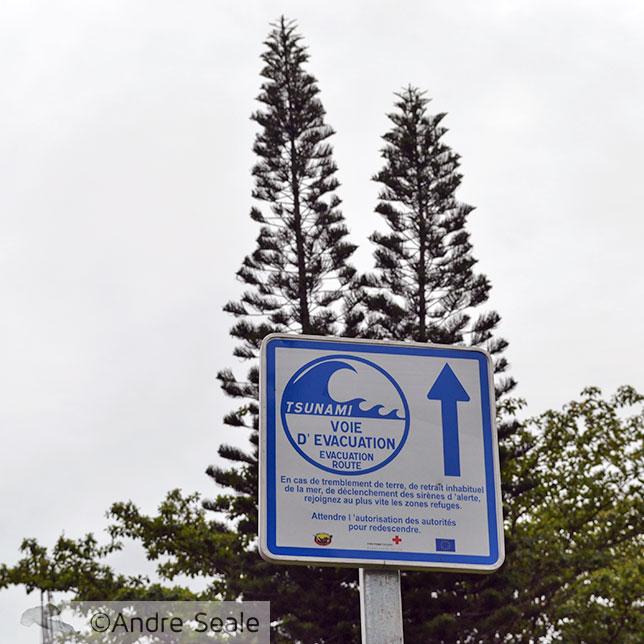 SInal de evacuação por tsunami - Costa nordeste da Nova Caledônia