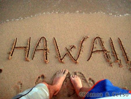 Hawaii desenhado na areia da praia