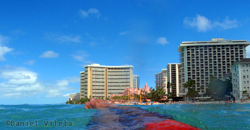 Tranquilidade do Daniel Vilela na praia de Waikiki