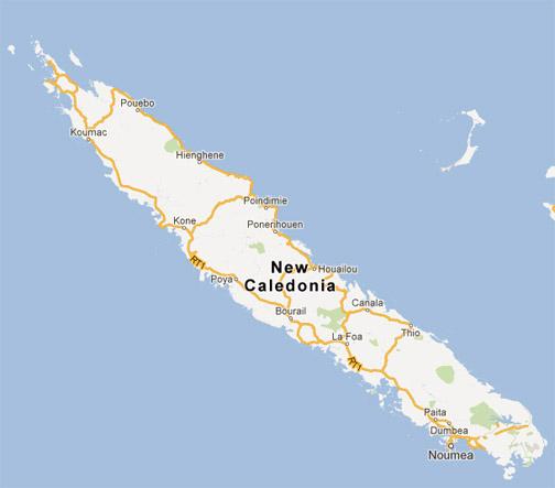 Mapa da Nov Caledônia