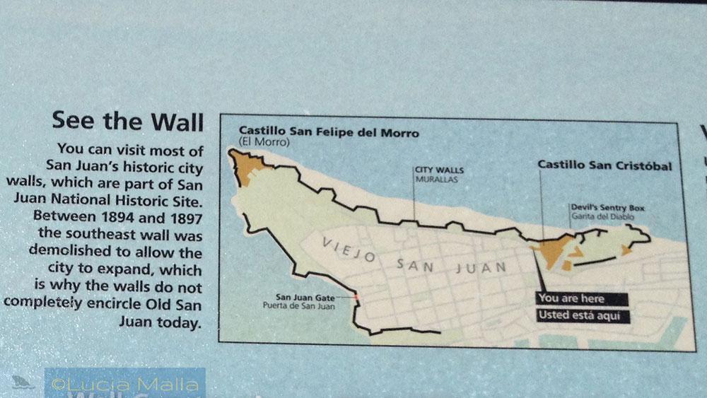Mapa da antiga San Juan - Porto Rico