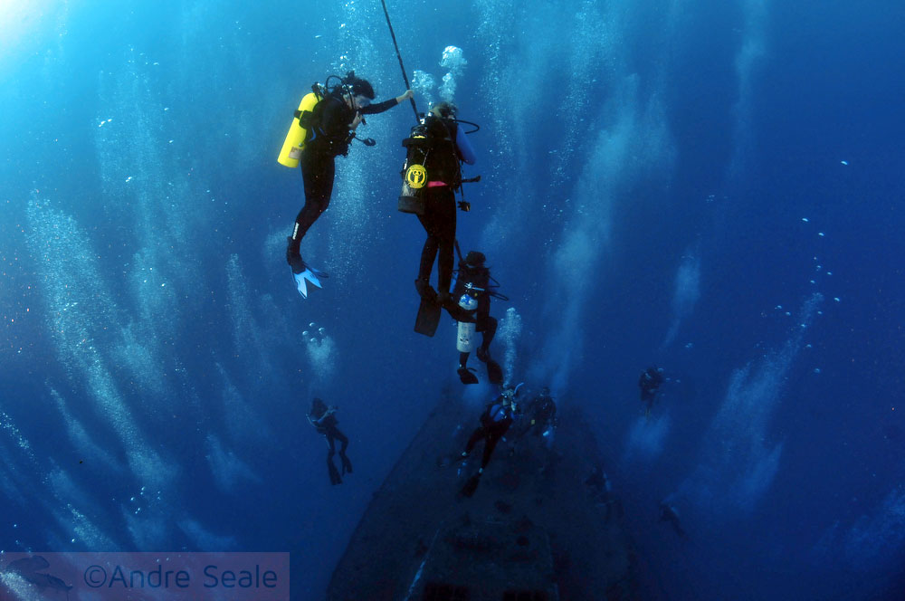Descida na corda - mergulho no naufrágio Sea Tiger