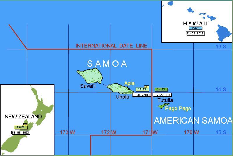 Mapa de Samoa Americana e a Linha Internacional da Data