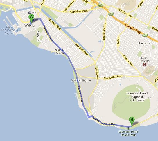Mapa do roteiro dia 1 - Dois dias em Oahu