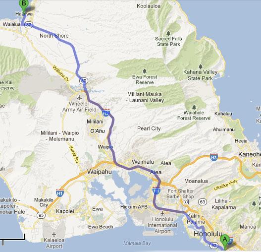 Mapa - Waikiki ao North Shore de Oahu