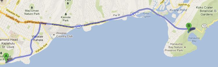 Mapa do roteiro - Dois dias em Oahu