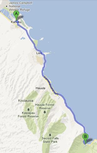 Roteiro - Kahuku a Hauula - Havaí