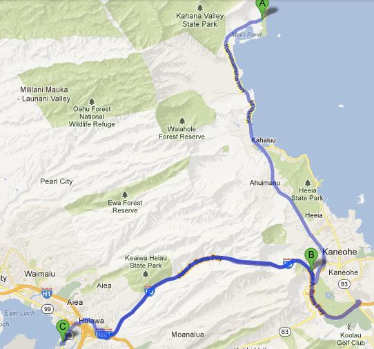 Mapa - Dois dias em Oahu - Havaí