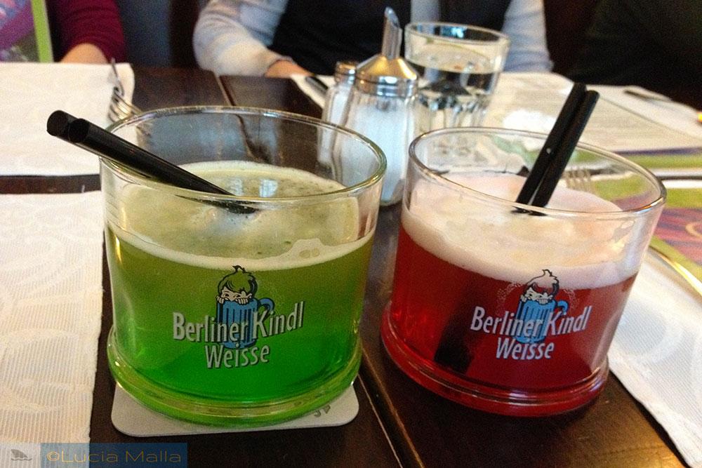 Berliner Weisse Bier - cerveja verde e vermelha - Alemanha