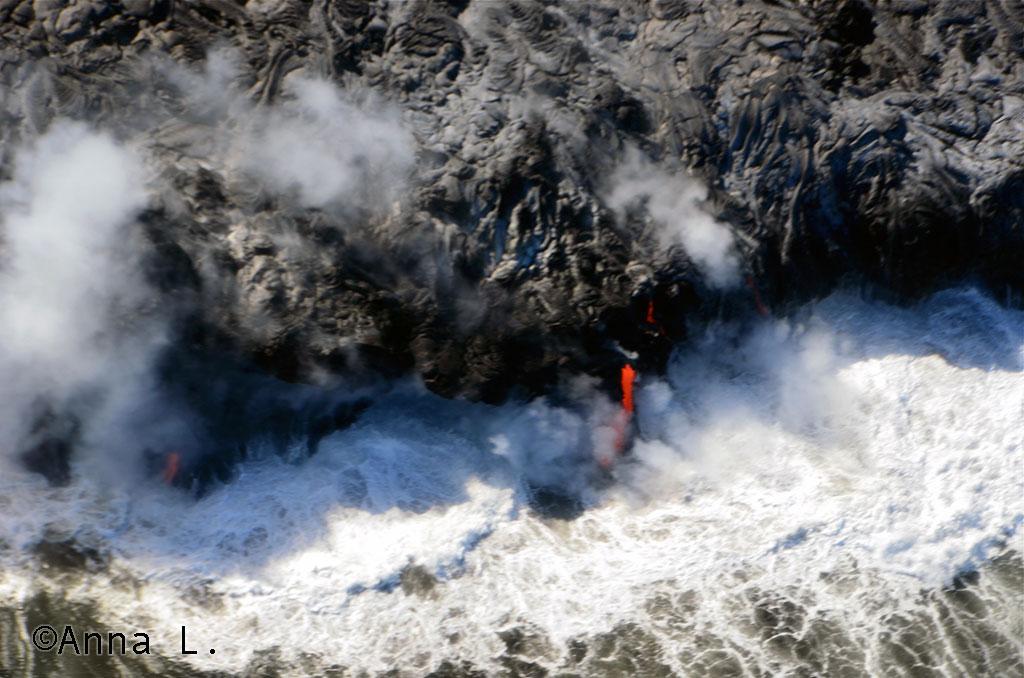 15 dias no Havaí da Anna - lava no oceano