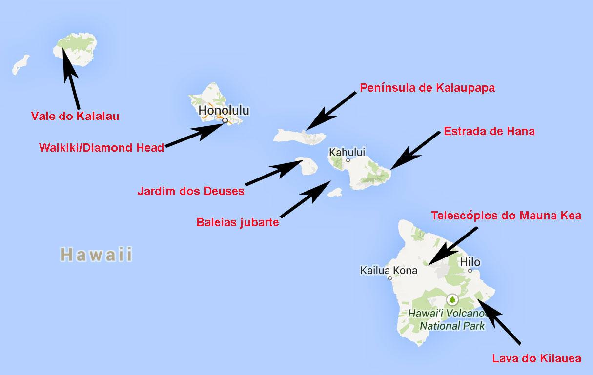Mapa do Havaí do Globo Repórter