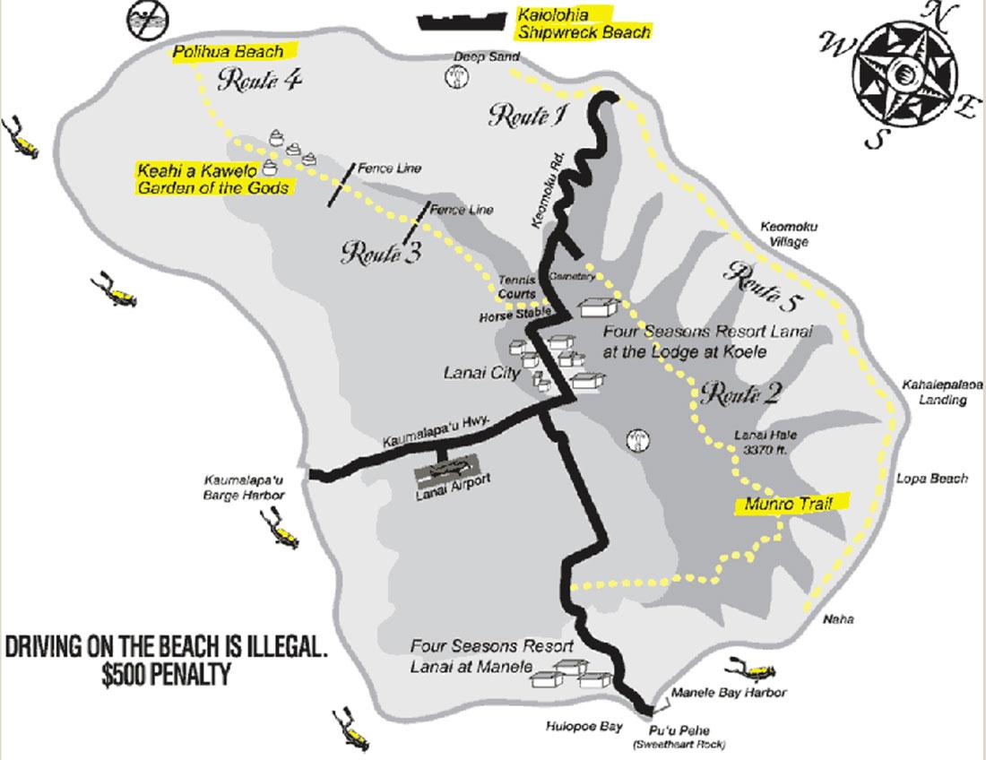 Mapa de Lanai - roteiro