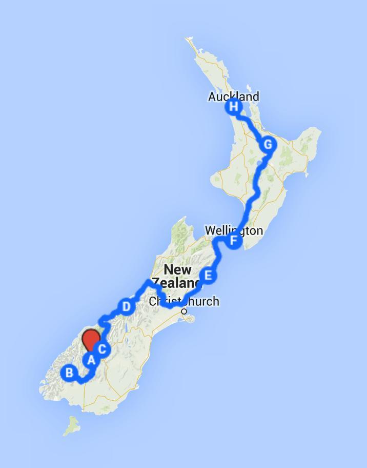 Mapa do roteiro Nova Zelândia em 12 dias