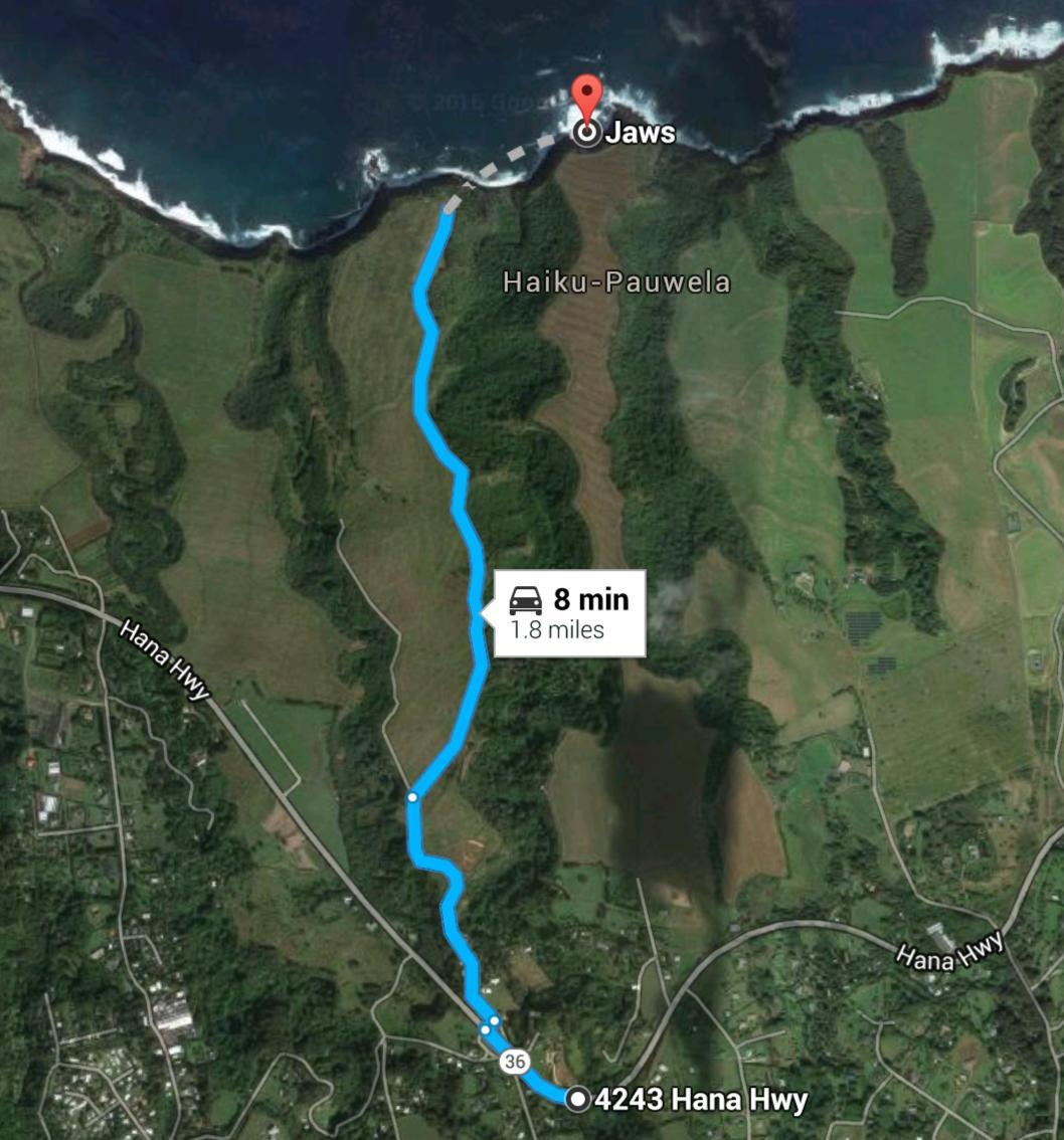 Aventura Peahi - mapa para chegar em Jaws