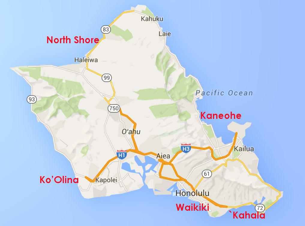 Mapa - áreas de hotel em Oahu