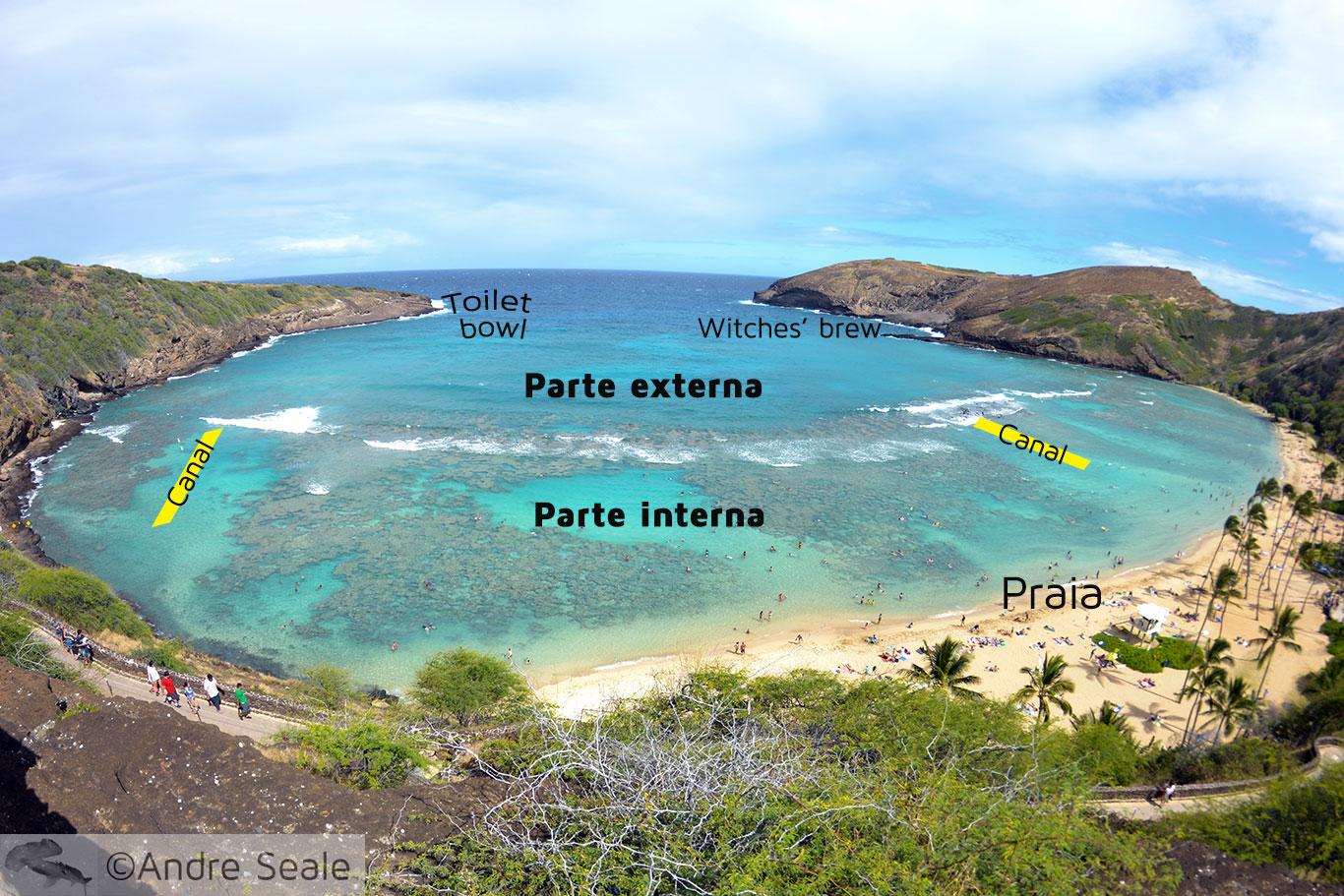 Mapa de snorkel em Hanauma Bay - Oahu