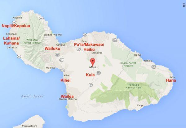Guia de hotel em Maui - mapa